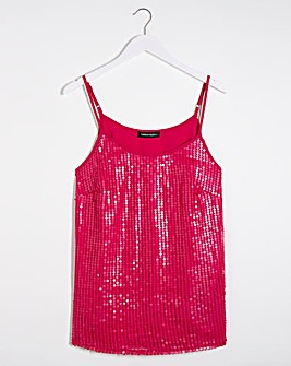 Bright Pink Sequin Strappy Camisole Top
