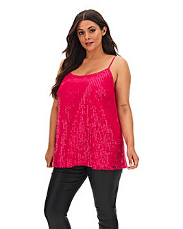 Bright Pink Sequin Strappy Cami Top