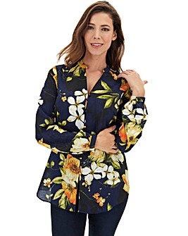 Navy Floral Jaquard Blouse