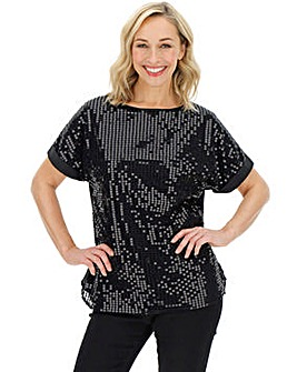 Black Sequin Front Boxy Top