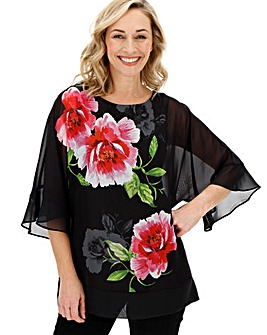 Fluted Sleeve Sheer Blouse