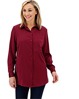 Wine Satin Shirt With Gold Buttons