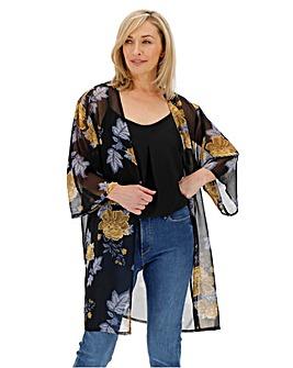 Black Floral Longline Boxy Kimono
