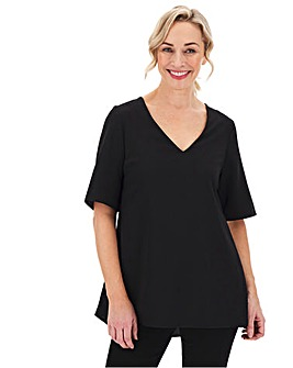 Black Pleated Side V-Neck Blouse