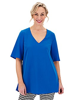 Blue Pleated Side V-Neck Blouse