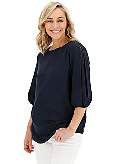 Lace Sleeve Insert Blouse