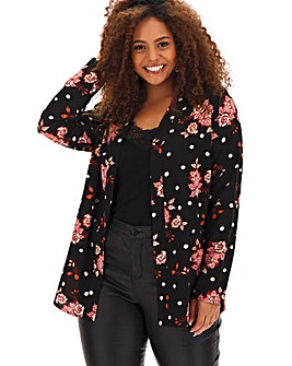 Black Floral & Spot Cover Up Shacket