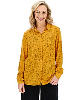 Yellow Heart Dipped Back Viscose Shirt