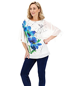 Ivory Print Fluted Sleeve Sheer Blouse