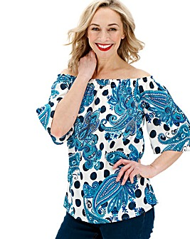 Blue Mix Print 3/4 Sleeve Bardot