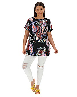 Black Print Longer Length Boxy Top
