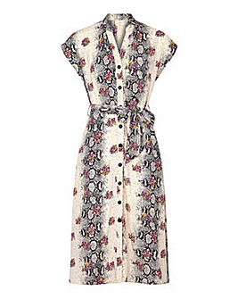 Yumi Curves Floral Print Shirt Dress