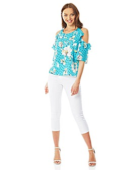 Roman Floral Spot Cold Shoulder Top