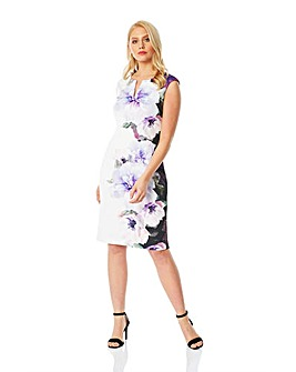 Roman Placement Floral Print Scuba Dress