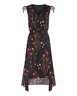 Yumi Curves Poppy Print Asymmetric Dress