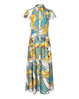 Yumi Curves Tassel Print Maxi Dress