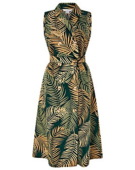 5bc8f7382fc Monsoon Pama Palm Print Linen Midi Dress