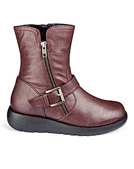 Casual Zip Detail Ankle Boots Wide E Fit