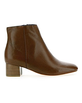 Leather Block Heel Ankle Boots EEE Fit
