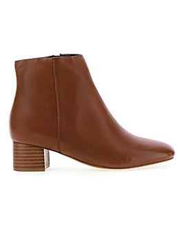 Leather Block Heel Ankle Boots Wide E Fit