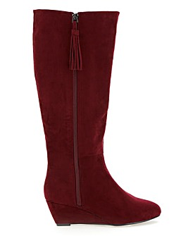 Soft High Leg Wedge Boots Extra Wide EEE Fit Standard Calf