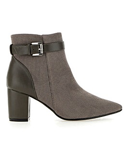 Cord Detail Ankle Boots With Statement Heel Wide E Fit