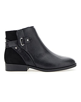 Strap and Microsuede Detail Ankle Boots Extra Wide EEE Fit