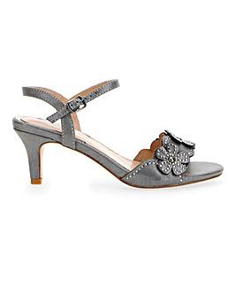 Kitten Heel Flower Sandals E Fit