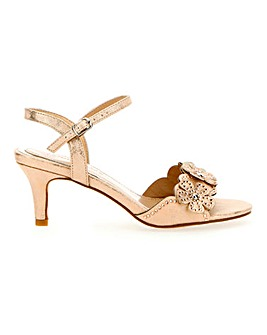 Kitten Heel Flower Detail Strappy Sandals Extra Wide EEE Fit