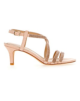 Diamante Detail Strappy Kitten Heel Sandals Extra Wide EEE Fit