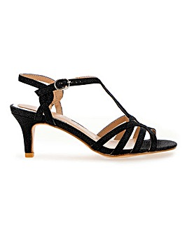 T Bar Shimmer Kitten Heel Sandals Extra Wide EEE Fit