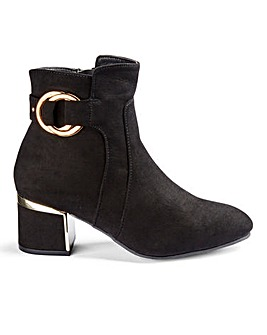 Flexi Sole Block Heel Trim Detail Ankle Boots Wide E Fit