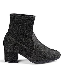 Flexi Sole Block Heel Stretch Ankle Boots Wide E Fit
