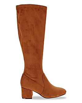 Block Heel Pull On Stretch High Leg Boots Extra Wide EEE Fit Standard Calf