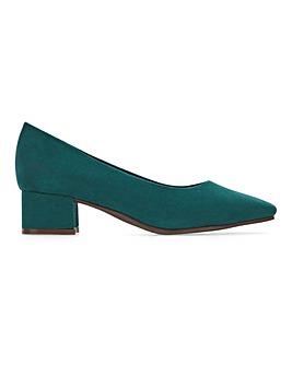 Flexi Sole Block Heel Court Shoes Extra Wide EEE Fit
