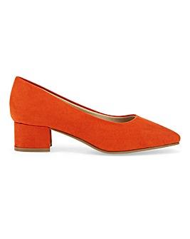 Flexi Sole Block Heel Court Shoes Wide E Fit