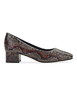 Flexi Sole Block Heel Court Shoes Ultra Wide EEEEE Fit