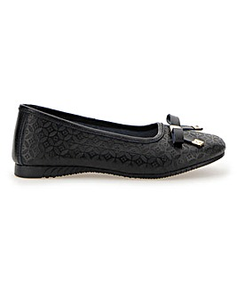 Embossed Leather Ballerinas Wide E Fit