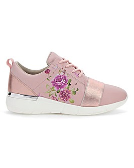 Floral Print Lace Up Leisure Shoes Wide E Fit