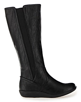 Cushion Walk Elastic Panel High Leg Boots Wide E Fit Curvy Plus Calf
