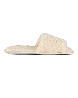 Plush Open Toe Mule Slippers Wide E Fit