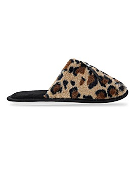 Leopard Print Mule Slippers E Fit