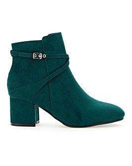 Flexi Sole Block Heel Ankle Boots With Strap Detail Wide E Fit
