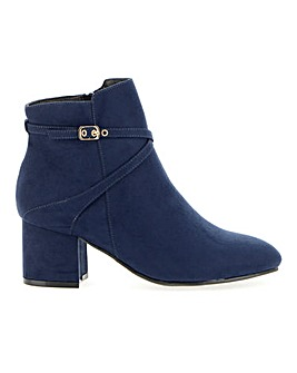 Flexi Sole Block Heel Ankle Boots With Strap Detail Extra Wide EEE Fit