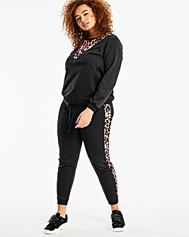 ColourBlock Pink Animal/Black Joggers