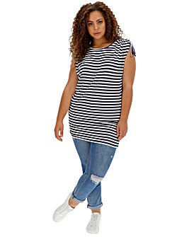 Ivory/ Navy Stripe Ruched Hem Tunic