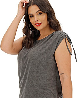 Charcoal Marl Ruched Hem Tunic