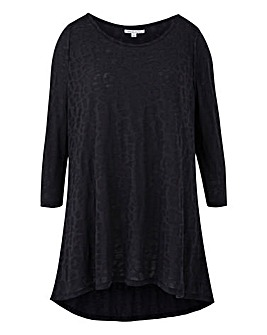 Black Burnout 3/4 Sleeve Top