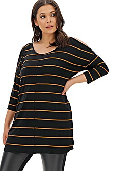 Camel/ Black Stripe Cold Shoulder Tunic