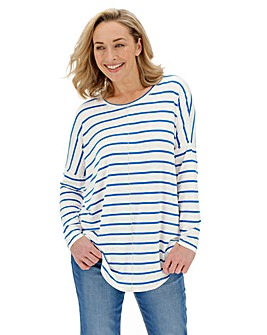 White/ Blue Oversized Stripe Tunic